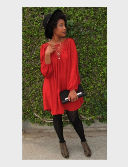 Peasant Sleeve Dress with Lace Yoke - H&M // Hat - Forever 21 // Clutch - Aldo // Peep-Toe Heels - Vince Camuto // Necklace - H&M // Patterned Tights - Target